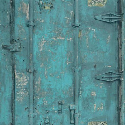 Vintage Tapete Türkis by Wallpaper Grandeco Vintage Steel Turquoise Ew3201