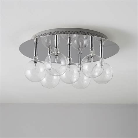Cluster Glass Bubble Clear Chrome Effect 7 Lamp Ceiling