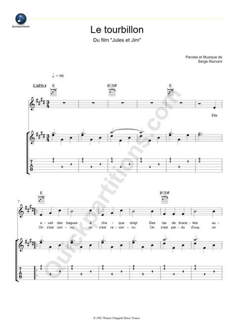 tablature guitare le tourbillon jeanne moreau partition
