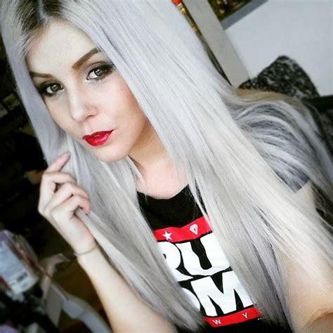 silver hair long  straight hair colors ideas