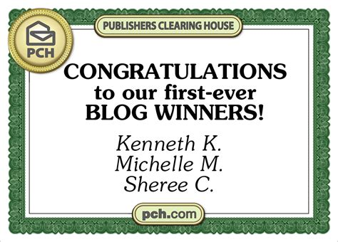 Publishers Clearing House Winners Of Blog Contest Revealed!  Pch Blog
