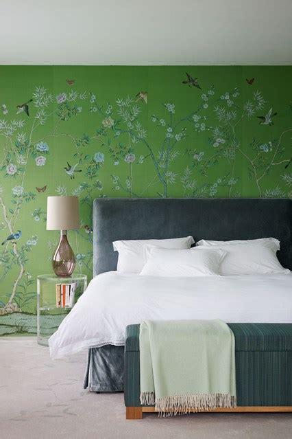 Bedroom Wallpaper Ideas Uk green de gournay bedroom design ideas houseandgarden co uk