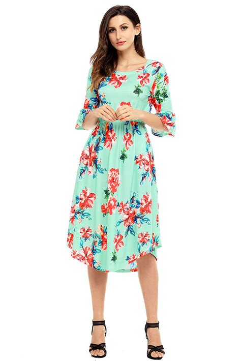 maxi jersey flower us 7 92 green 3 4 bell sleeve floral midi dress dropshipping