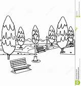 Park Coloring Bench Trees Benches Pages Tree Hand Designlooter Drawn Drawings Sketch 7kb 1300px 1218 Template Preview sketch template