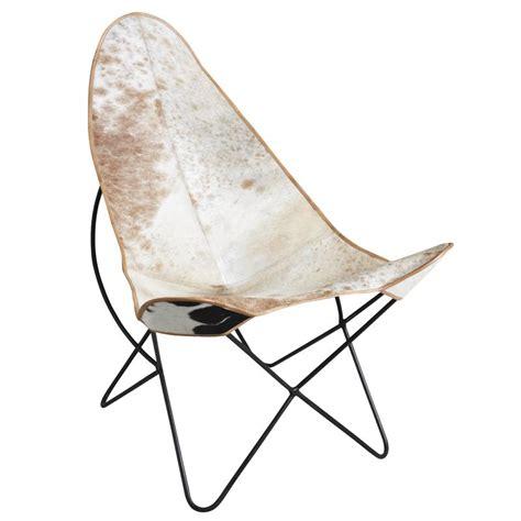 fauteuil papillon en m 233 tal et peau de vache mfa2540c