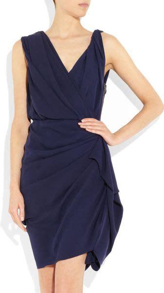 Lanvin Draped Dress - lanvin silk draped dress in blue indigo