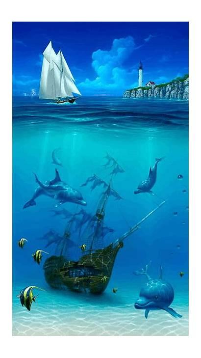Underwater Painting Paintings Dolphin Sea Miller David