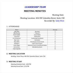 leadership team meeting minutesteam meeting minutes