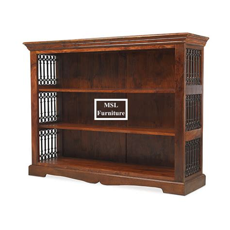Low Wide Bookcase by Madras Solid Sheesham Wood Low Wide Jali Bookcase Display