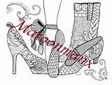 Shoes Ballet Coloring Adult Pumps Boots Adults Colouring Shoe Visit Pencils sketch template
