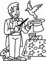 Magician Pages Coloring Mycoloring Printable sketch template