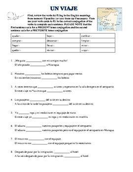 spanish worksheet using regular preterite tense and travel
