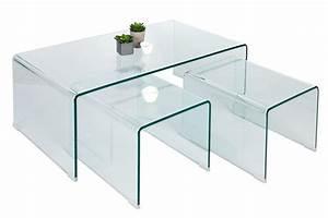 Table Basse En Verre Design : lot de tables basses gigognes en verre verino chloe design ~ Teatrodelosmanantiales.com Idées de Décoration
