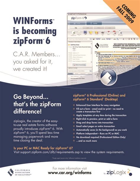 zipform 6 now offered to members of california association