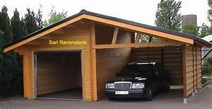 Garage Voiture En Bois : garage double une partie ouverte et une parti ferme un garage bois ~ Dallasstarsshop.com Idées de Décoration