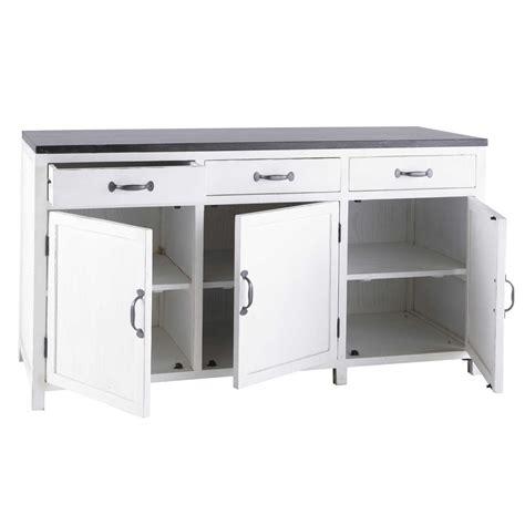 buffet bas cuisine meuble bas de cuisine en bois recyclé blanc l 160 cm