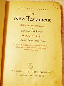 holy bible new testament red letter edition kjv c 20s 30s With red letter new testament