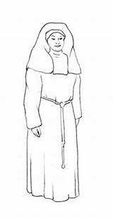 Nun Drawings Line Coloring Pages Sketch Template Rubber sketch template