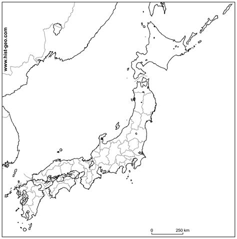 outline map  japan japanese prefectures