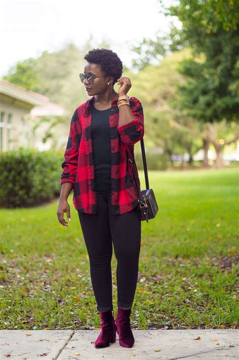 All black casual oufit with buffalo plaid shirt and burgundy velvet booties