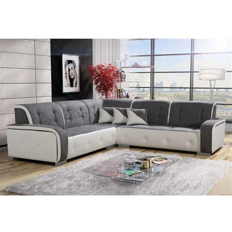 canapé blanc tissu canapé d 39 angle réversible tissu gris et pvc blanc jamaïca