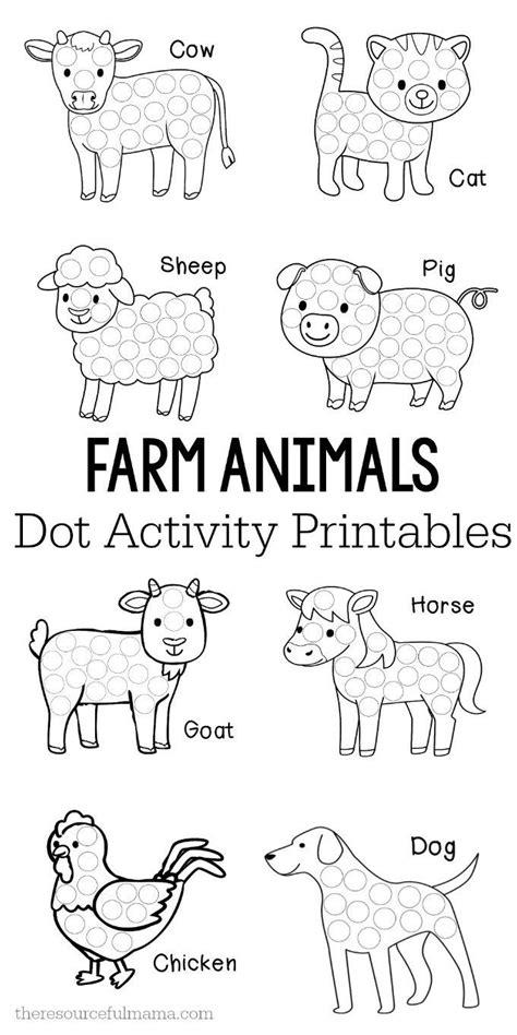 farm animals dot activity printables farm animals