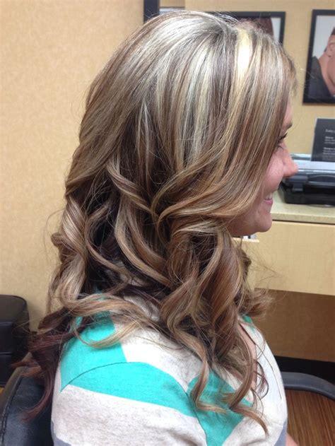 highlights  lowlights curls blonde mocha purple highlights blonde hair