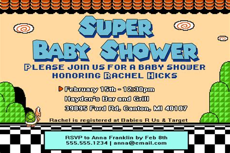 Super Mario Baby Shower Invite How To At The Waters Edge