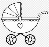 Baby Crib Clipart Clip Bottle Coloring Stroller sketch template