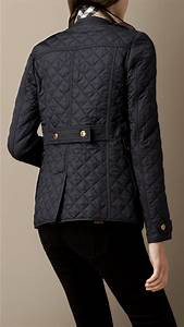 burberry corduroy collar quilted jacket in navy blue lyst
