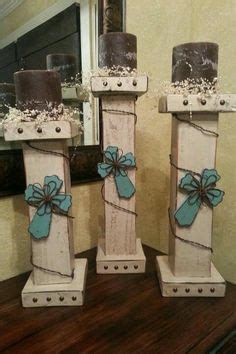 wooden candle holders handmade large hand painted white