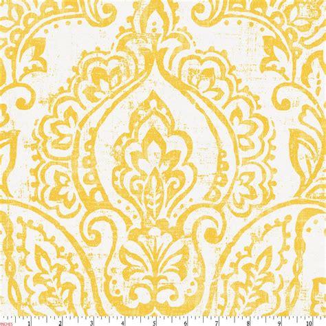 white  yellow vintage damask fabric   yard