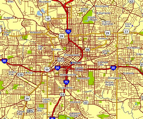 street map  atlanta  travel information