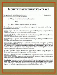 simple investment contract  word templates