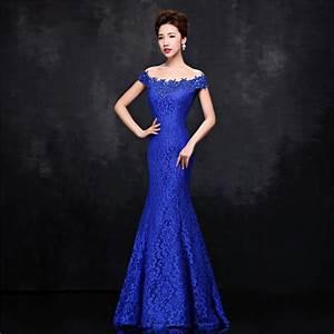 Beaded Lace Mermaid Evening Dresses Royal Blue Long ...