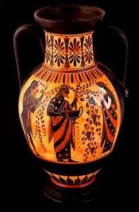 Dionysus and Ariadni greek ceramic amphora pottery ...