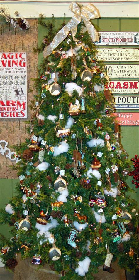 westernfarm theme christmas tree filled  cowboy