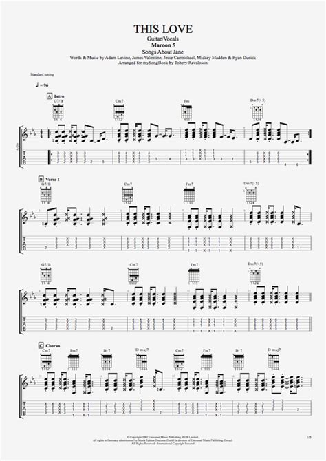 maroon 5 e chords partition guitare this love maroon 5