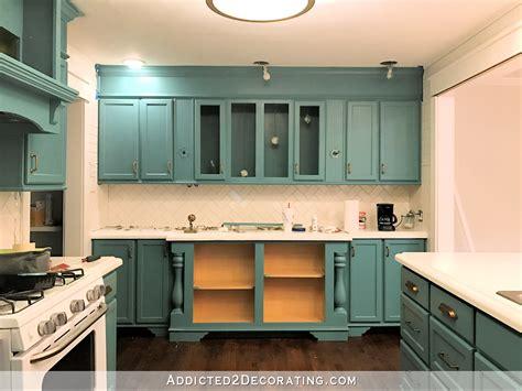 Decor Teal Kitchen Cabinets And White Tile Backsplash