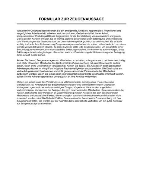 formular zur zeugenaussage vorlagen und muster biztreecom