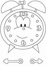 Clock Coloring Alarm Pages Cartoon sketch template