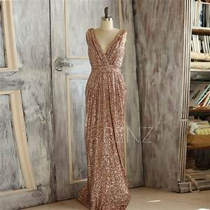 2015 rose gold bridesmaid dress long gold sequin wedding With metallic wedding dress