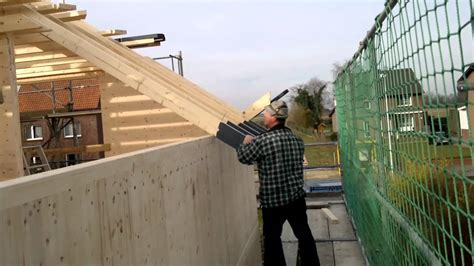 massivholzhaus dachstuhl dachsparren montage passivhaus