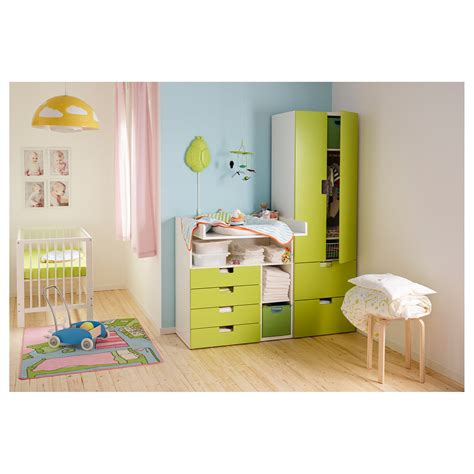 table chambre stuva changing table with 4 drawers white green 90x79x102