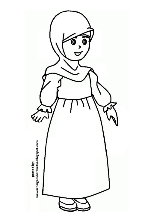 mewarnai gambar baju muslimah