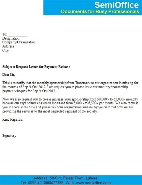 request letter  release  outstanding payment