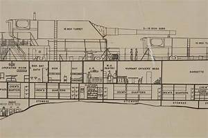 World War Ii Era Framed Battleship Diagram For Sale At 1stdibs