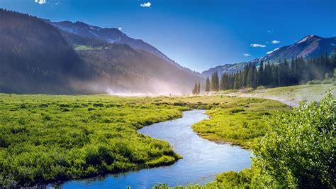 11337 professional photography nature wallpaper landscape mountains green colorado lake fog