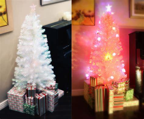 6 ft white pre lit multi color led fiber optic christmas
