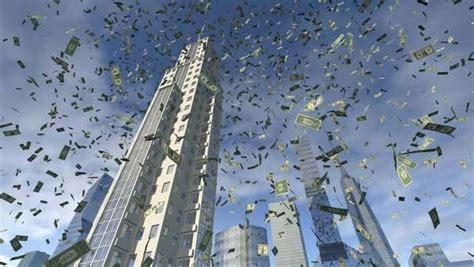dollar money fall     sky  close